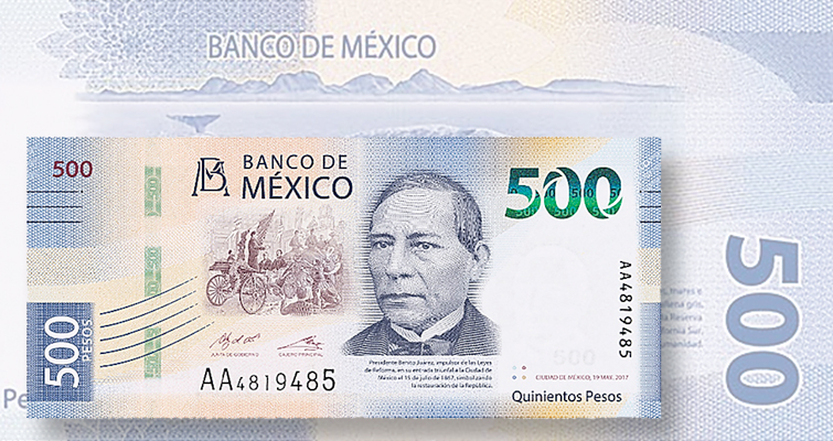 Mexico introduces a bank note series with 500-peso issue